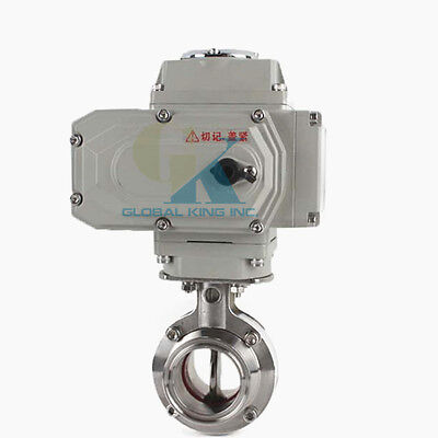 "1-1/2"" Sanitary Stainless Steel 304 Motorized Butterfly Valve Tri Clamp 220VAC"