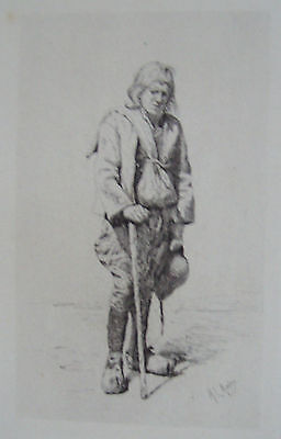 Original Etching  -A Breton Peasant 1879 by MORTIMER MENPES R.E.