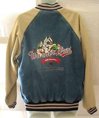 Embroidered Warner Bros Lined Denim Jacket Large WB Champions Bugs Bunny Taz