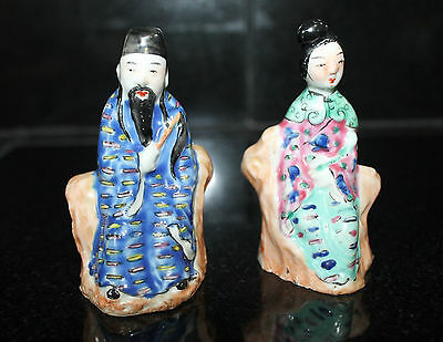 Chinese Famille Rose Porcelain Man and Woman Figurines Statue