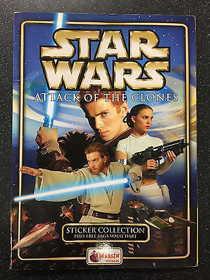 Merlin Star Wars Attack Of The Clones Sticker Album & Completed Stickers Set