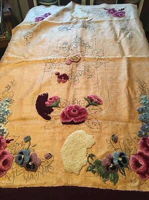 Felicity Roses Hollyhock Punch Needle Rug Hooking Wall Hanging Started 58 x 36.5