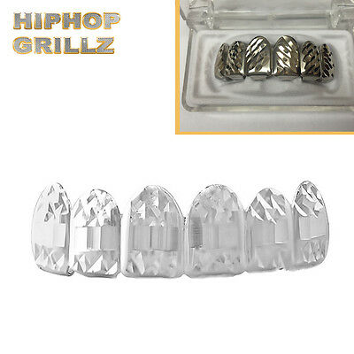 Silver Plated Diamond Cut Grillz Mouth Hip Hop Bling Teeth Top Grill
