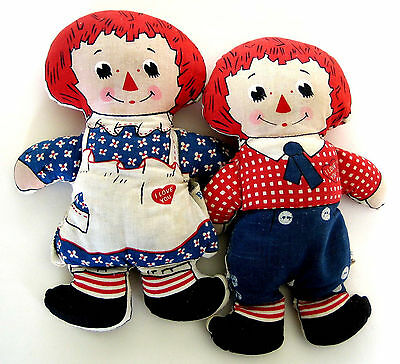 "Vintage Original Knickerbocker Raggedy Ann & Andy 7"" Adorable Stuffed Dolls"