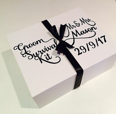 Personalised Groom Survival Kit Gift Box - Empty Padded Present Box