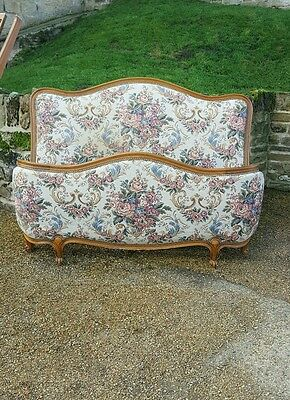 Beautiful Original Vintage French Upholstered Louis Xv Demi-Corbeille Double Bed