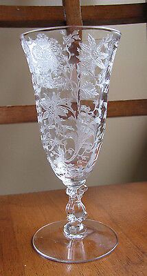 VINTAGE CAMBRIDGE ELEGANT GLASS WILDFLOWER JUICE STEM #3121 Goblet Footed Etched