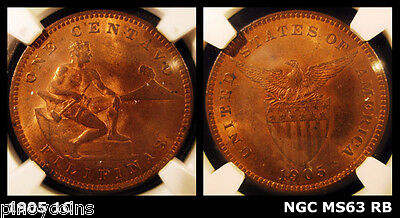 1905 1C USA-Philippines One Centavo, NGC MS 63 RB