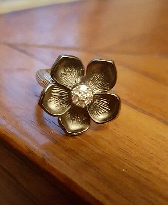 Size 7 Stephen Dweck Sterling Silver & Diamond Magnolia Flower Cocktail Ring