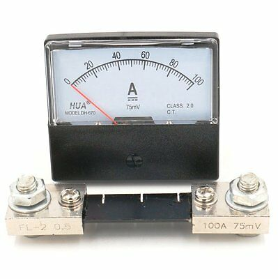Analog Amp Panel Meter Current Ammeter DH-670 DC 100A with 75mV Shunt