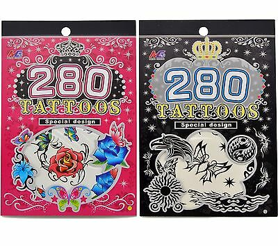 280pc Temporary Tattoo Sticker Art Body Skull Butterfly pider Dragon Flower Rose