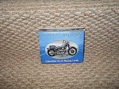Harley Davidson Springer Softail Collectible Tin & 2 Decks of Playing Cards NEW