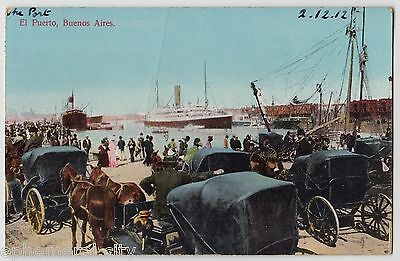 POSTCARD - Argentina, El Puerto, Buenos Aires, horse carriages at harbour, 1912