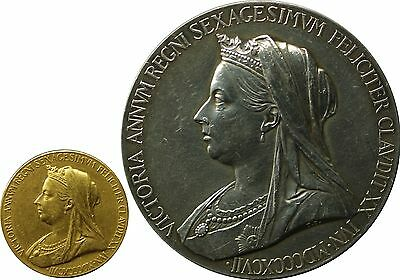 1897 QUEEN VICTORIA DIAMOND JUBILEE GOLD Medal&Silver Medallion