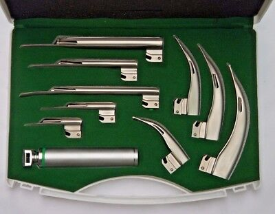 Fiber Optic Macintosh & Miller Laryngoscope Set with 9 Blades + Medium Handle