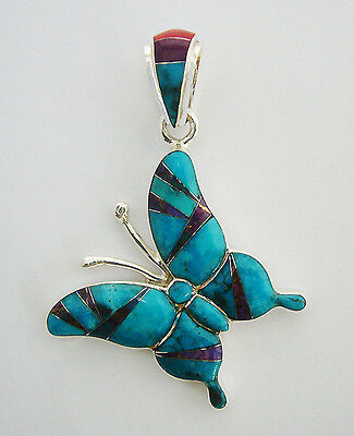 Sporty Handmade .925  Silver Butterfly Pendant In Turquoise/multicolor Inlay