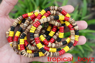 10 Pale Aboriginal Coconut Shell Wood Wooden Stretchy Bracelets Wholesale B