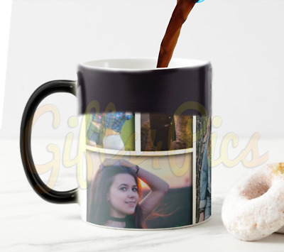Personalised Collage Black Heat Reveal Magic 11oz Large Handle Mugs
