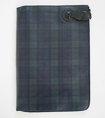 $1250 RALPH LAUREN Purple Lbl BLACKWATCH Tartan Leather Portfolio Document Case