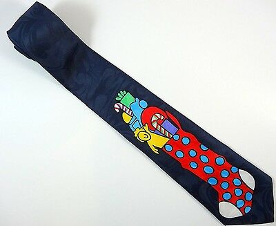 Christmas Neck Tie Big Stocking Navy Blue Holiday Necktie