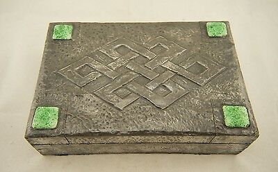 Antique English Arts & Crafts hammered pewter box Ruskin pottery medallions