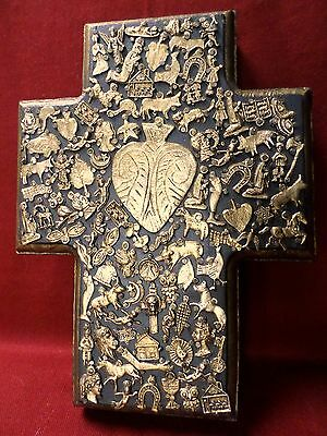 Large 10x8 Mexican Folk Art Carved Wood Heart Cross Milagro Miracle Ex Votos