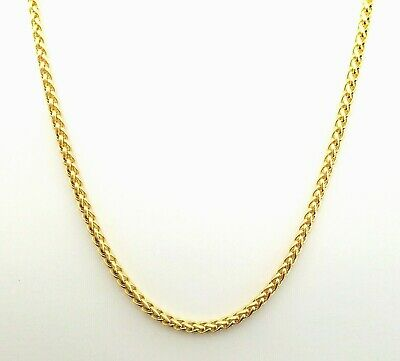 Source 20 inch 18ct gold Braided Wheat Rope Chain Necklace 2.5mm thick