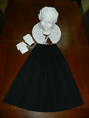 Ladies Medieval, Puritan, Crucible, Amish, Coif, Bonnet, 4 Piece Costume, Outfit