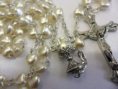 Rosary beads, 6mm cream colour pearl hearts, silver colour Crucifix & junction