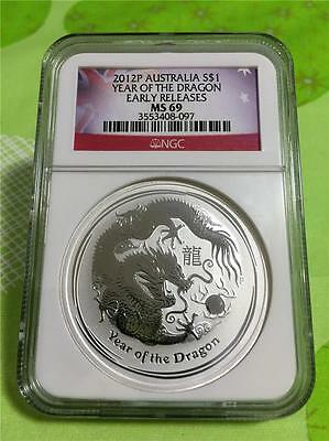 2012-P Australia $1 Year Of The Dragon 1 Oz. .999 Silver  Ngc Ms 69 With Spots