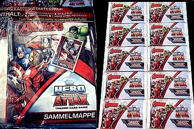 Topps Marvel HERO ATTAX SERIE 4-Avengers Age of Ultron-Starter Set+Tüten Booster