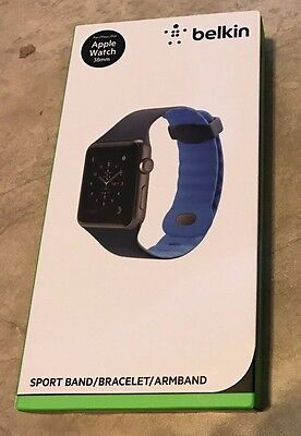 Belkin Sport Wristband Apple Watch Series 1 & 2 38mm Marine Blue NEW Band