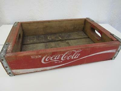 Vtg Pre-1982 COCA COLA Wood Wooden BOTTLE CRATE Red White Wave COKE Handles #2