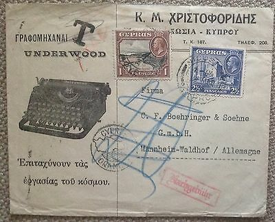 CYPRUS 1935 UNDERWOOD TYPEWRITER AD COVER to GERMANY with POSTAGE DUE MARKINGS