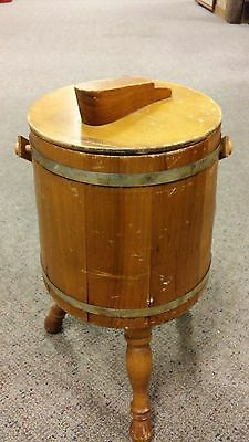 Vintage Wooden Barrel Footed Shoe Shine Box with Handle and Footrest Lid