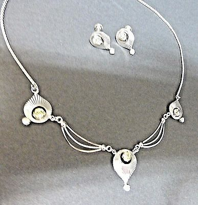"Vintage Loran Sim Sterling Silver 925 Rhinestone 16"" Necklace and Earring Set"