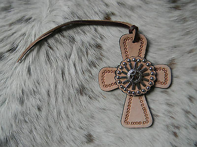 Tooled Leather Tie On Cross Western Saddle Spur Rowel Star Concho Horse Tack NEW