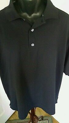 Footjoy Golf Polo Shirt Mens L Black Solid Short Sleeve Polyester