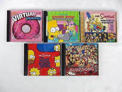 The Simpsons Lot of 6 CDs and CD-ROMs Cartoon Studio Virtual Springfield