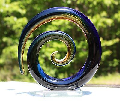 Murano Art Glass Coiled Round Sculpture Cobalt Blue & Gold Stretch Glass marked