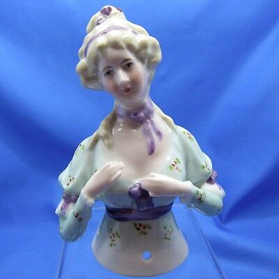 Antique Half Doll Collection VERY Special Beautiful Lady In the Purple Ribbons