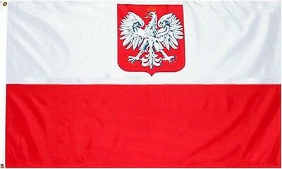 """Wrigleyville Sports Poland """"State/Ensign Eagle"""" Flag: 3x5 foot Poly"""