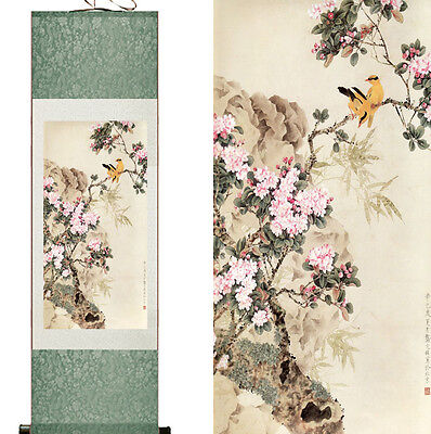 Magpie Chinese Silk Wall Scroll Flower and Bird Painting Home Office Decoration