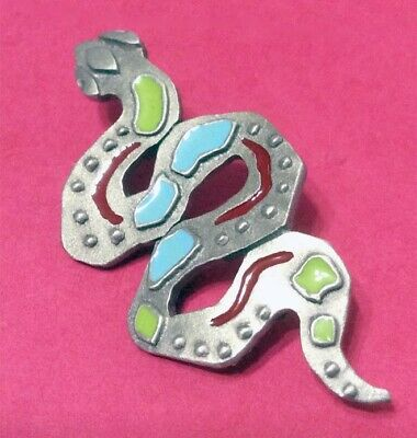Snake With Turquoise Accents Silver Tone Brooch Pin Jonette Original