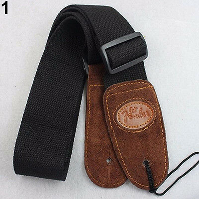 Adjustable Belt Soft Thick Strap For Electric Acoustic Guitar Bass Black Showy