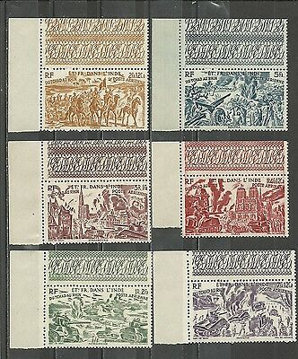 Ets French in INDIA 1946. Chad to the Rhine. Compléte set 6 mint stamps** (4185)