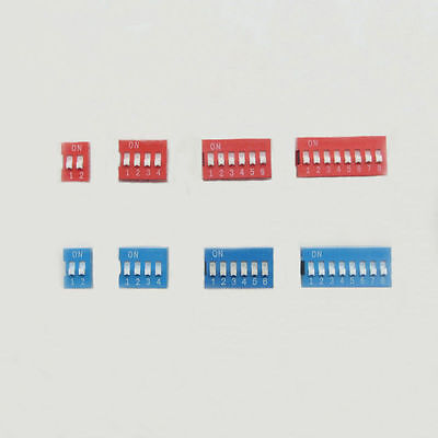 2P 3P 4P 5P 6P 7P 8P 9P 10P 12P Way Bits Position DIP Switch Red/Blue 2.54mm New