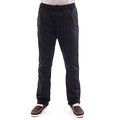 Unisex Black Chef Drawstring Pants Trousers Plain Uniform Pockets Workwear AU