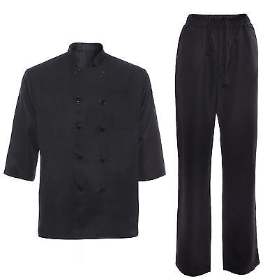 New Black Chefs Jacket Coat Chef Drawstring Pants KITCHENWEAR Workwear Uniforms