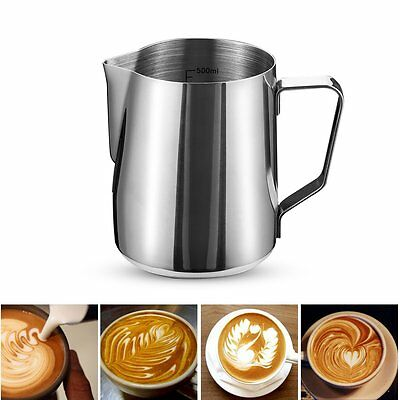 Stainless Steel Coffee Frothing Milk Latte Jug Pitcher Foam Scale Cup 600ml【UK】